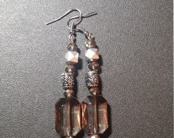Smoky Crystal and Silver Dangle Earrings