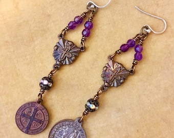 Purple Reign, vintage assemblage earrings, religious, Amethyst, copper