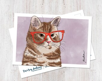 Cute hipster cat wearing glasses illustrated watercolor postcard art print