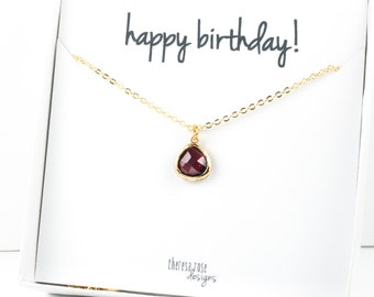 Tiny January Birthstone Gold Necklace, Garnet Gold Necklace, January Birthday Jewelry, Personalized Gold Necklace, Gifts Under 20