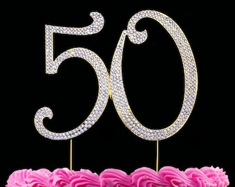 50th Birthday Cake Topper 50 Cake Topper Bling Anniversary Cake Topper Large Silver or Gold