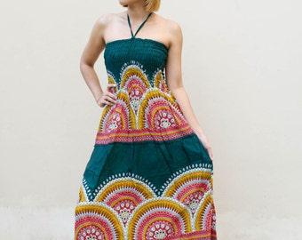 Women's Floral Haze Maxi Dress - Festival Summer Dress Gypsy Hippie Dress Bohemian Dress Casual Boho Dress Thai Dress Long Dress Beach Dress