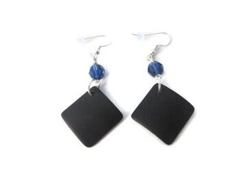 Black Sea Glass Earrings, Large Black Earring, Black Beach Glass Earring, Black Dangle, Black and Blue Earring, Midnight Blue and Black Drop