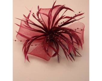 Burgundy Fascinator. Burgundy looped net & feather flower fascinator on a forked clip / brooch pin. Wedding Fascinator, Wine Headdress