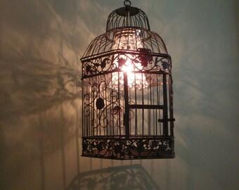 Restoration Hardware inspired hanging bird cage lamp