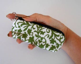 Small Coin Purse Mini Key Ring Zipper Pouch ECO Friendly Padded Lip Balm Holder Case Zippered Pouch Earbud Pouch NEW Green Vines