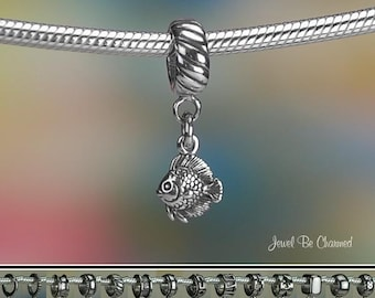 Tiny Heckel Fish Charm or European Charm Bracelet .925 Sterling Silver