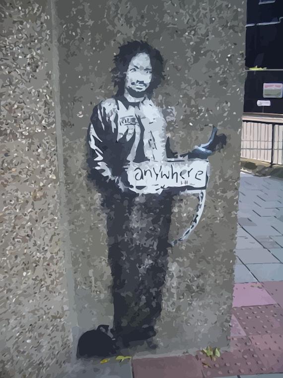 Banksy Canvas Manson Hitchhiker To Anywhere Banksy Graffiti