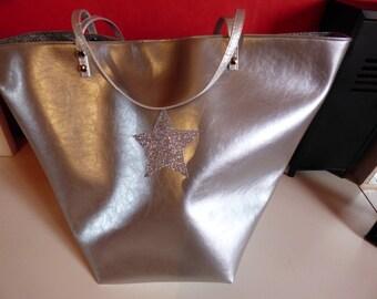 Tote bag, beach, weekend city faux metallic gray