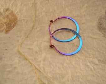 Mostly Turquoise Hoop Earrings in Hypoallergenic Niobium