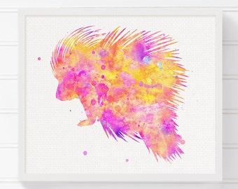 Pink Porcupine Art Print, Porcupine Watercolor Painting, Porcupine Poster, Baby Girl Nursery, Girls Room Decor, Woodland Nursery Decor