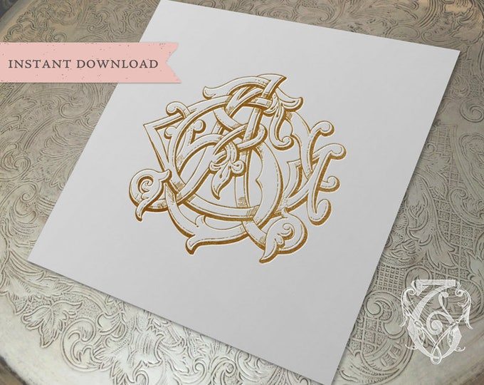 3 Initial Vintage Monogram GSA SGA AGS Three Letter Wedding Monogram Digital Download G S A