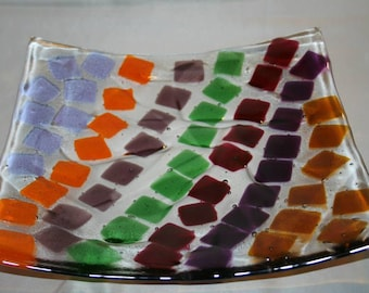 Square glass platter has texturing in the glass. (PL-43)