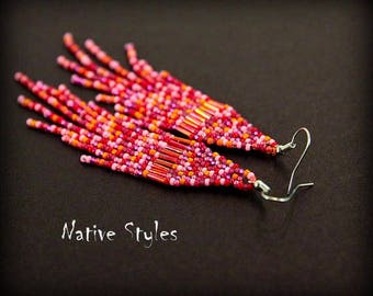 "4,5""Confetti Seed Bead Earrings~Native American Inspired~Bead Woven Confetti Fringe Earring~Red Multicolor Glass Bead~Confetti Dangle Beaded"
