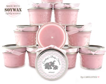 Set of 12 pink and gray elephant baby shower favors, personalized soy candles, gender reveal party favors, new baby
