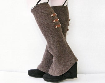 leg warmers shoe covers spats recycled wool brown with buttons eco friendly recycled upcycled wool women for her tagt team