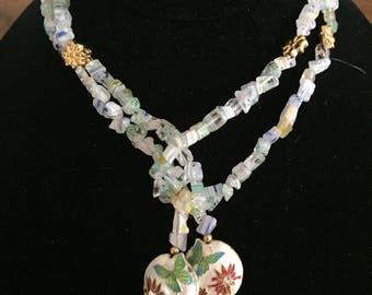 Pale Green Milleflori Lariat Necklace