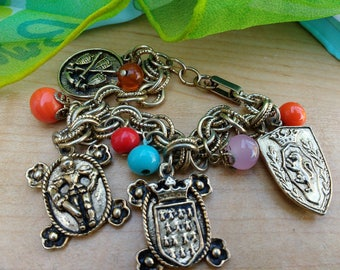 Vintage Charm Bracelet British Coat of Arms Knight Royal England Renaissance Revival