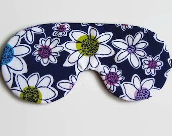 Whimsical flower Sleep Mask, Dark Blue Sleeping Mask, Adjustable Eye Mask