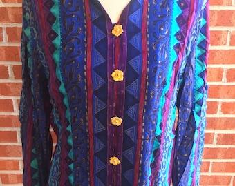 Vintage 80s Lady Carol patterned shirt. Size 14