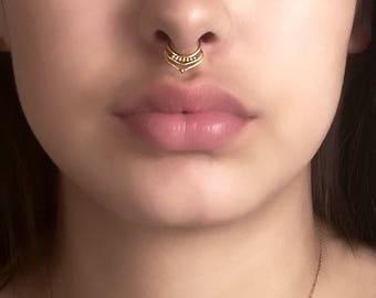 Gold Septum Ring - Septum Jewelry - Septum Piercing - 16G Septum Ring - Tribal Septum Ring - Indian Septum Ring - Septum Nose Ring (G32)