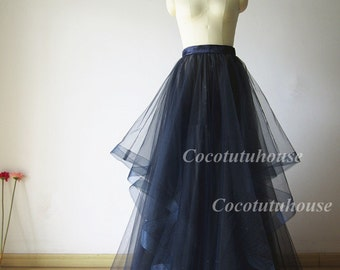 Horse Hair Trims Navy Blue Hi Low Maxi Tulle Skirt Women Horsehair Tulle Skirt/Wedding Dress Underskirt/Bridesmaid/Valentine's Day /Prom