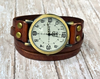 Leather Wrist Watch, Wrist Watches, Women's Wrist Watch, Leather Wrap Watch, Natural Brown Synthetic Leather Watch, Womens Gift, Teen Gift