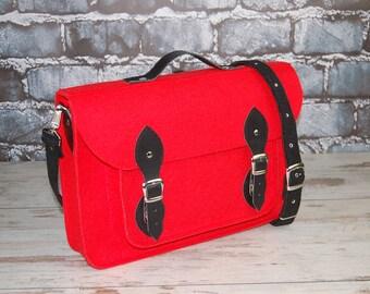 Felt Laptop bag 15 inch with pocket,satchel,Macbook Pro 15 in,Shoulder bag,Custom size,sleeve, case leather