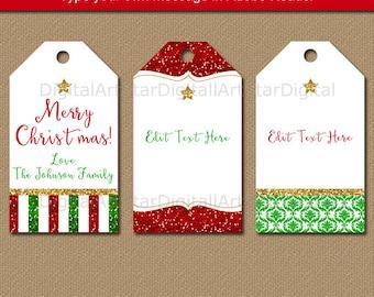 Christmas Tags Download, Christmas Gift Tags Prinable Christmas Tags, Holiday Tags Editable Tag Template, Elegant Christmas Tags B4