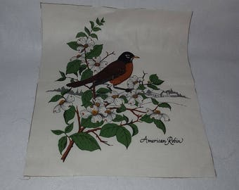 Vintage Robin Quilt Block Square Cotton Print  Fabric