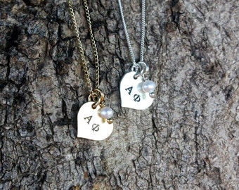 Alpha Phi Heart Necklace Sterling Silver Gold - Sorority Jewelry, Big Sis Lil Sis, Initiation Gift Bid Day Gift Recruitment Gift