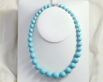 Free shipping- 8-18 mm blue shell pearl Gradient Necklace