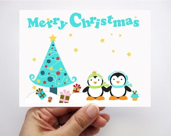 Penguin Christmas cards,  printed cards, Kids cards,  Merry Christmas Cards, winter Christmas cards, Children's Card A41