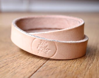 Natural Veg Tan Crossover Leather Bracelet/Cuff