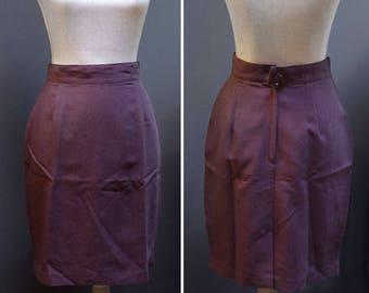 Vintage Plum Purple Pencil Skirt, Maroon Work Skirt, Vintage Purple Skirt, Classic Pencil Skirt, Made in Canada, Simple Purple Pencil Skirt