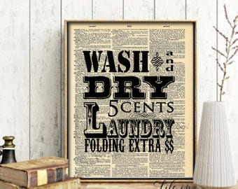 Laundry Vintage Dictionary print - Wash and Dry