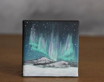 Aurora Borealis Art, Winter Landscape, Miniature Canvas Art, Aurora Borealis Painting, Mountain Art, Miniature Painting, Northern Lights