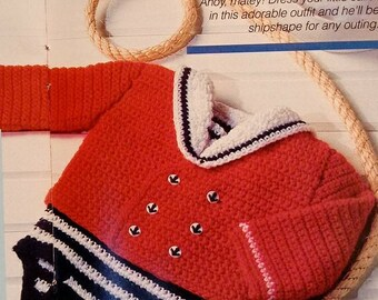 Little Sailor suit baby boy Crochet pattern Vintage Red White Blue romper onesie tear out