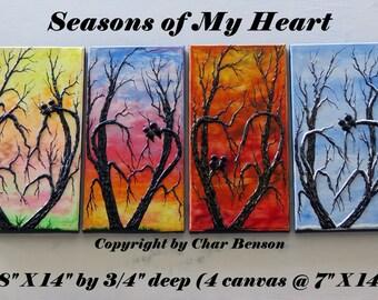 4 Seasons Painting Lovebirds on Heart Trees Spring Summer Fall and Winter Paintings Original Canvas Paintings wedding gift Modern Art