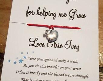 Insegnante gifts, insegnante grazie ti doni, insegnante speciale, insegnante regalo, insegnante regalo personalizzato, Personalized insegnante regalo, desiderio bracciali