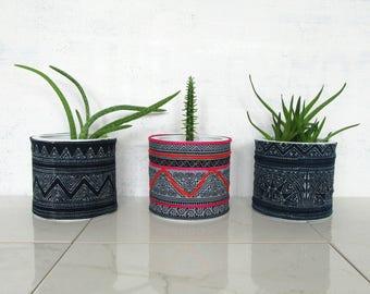 Hmong Planters / Thailand Textile Unique Plant Pot Natural Dye Indigo Embroidered Bright Colorful Traditional Cloth Block Printed Shibori