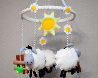 Amigurumi Sheep Baby Mobile : Sheep mobile etsy