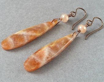 Long Sunstone Teardrop Earrings, Oxidized Copper Niobium, Natural Peach Orange Stone, Luminous Shimmer Flash, Lightweight OOAK Gemstone