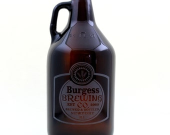 Personalized Home Brew Growler with Classy Simple Label Design. Homebrew, personalized, logo art, brew art, Beer Glass, Beer Gift, Beer