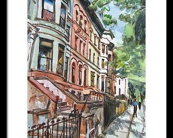 Large Framed Brooklyn Art Print, Choice of Frame, Prospect Heights Brownstones Urban Cityscape Park Slop Painting by Gwen Meyerson