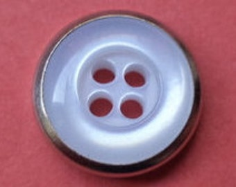 12 small buttons white silver 12mm (3647)
