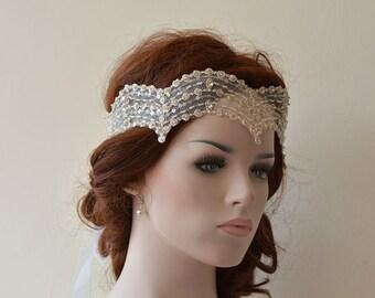 Wedding Lace Headband, Wedding Hair Accessory,  Bridal  Headband,  Vintage Style Lace, Bridal Hair Accessories