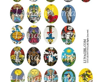 Vintage TAROT CARDS All Major Arcana digital collage sheet, 30x40mm Oval pendants magical occult fortune gypsy Victorian art images DOWNLOAD