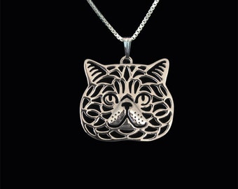 Exotic Shorthair cat - sterling silver pendant and necklace