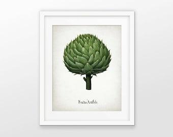 Artichoke Art Print - Artichoke Vegetable Plant Illustration - Botanical Print - Kitchen Art - Single Print #1558 - INSTANT DOWNLOAD
